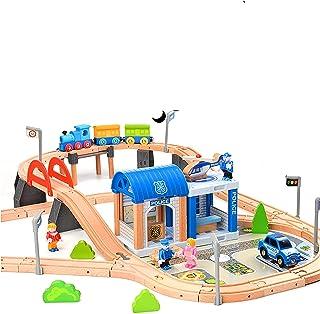Drewniana kolejka dla dzieci / pociąg z szynami 90-części
