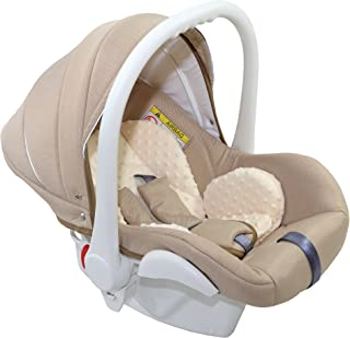 """Clamaro Babyschale Auto """"JUNO white"""" ultraleicht 2,95 kg mit Anti-Shock Schaumstoff, Gruppe 0 0-13 kg ECE-R 44/04 - Baby Autositz inkl. Sonnenverdeck und Fußabdeckung - Beige Leinen"""