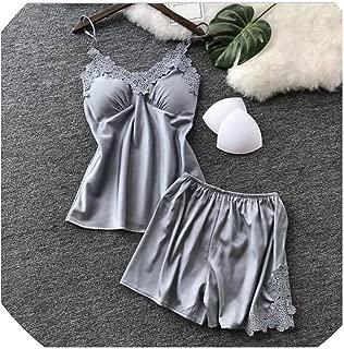 Surprise S Women Sets Satin Sleepwear Silk Strap Sleep Lounge with Chest Pads