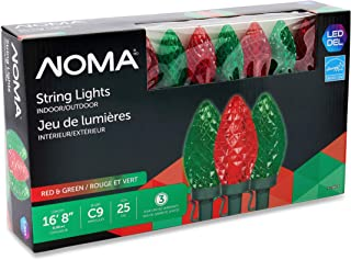 NOMA LED Christmas Lights | 25-Count C9 Red and Green Bulbs | 16' 8