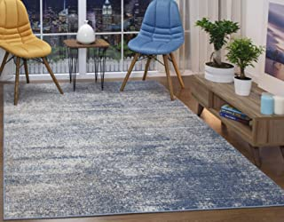 Antep Rugs Florida Collection Distressed Modern Abstract Polypropylene Indoor Area Rug (Blue, 5' x 7')
