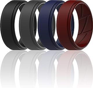 حلقه های عروسی سیلیکونی ThunderFit برای شیارهای داخلی جریان هوا قابل تنفس برای مردان - نوارهای نامزدی لاستیکی قابل تنفس طرح لبه براق - 8 میلی متر عرض - 2 میلی متر ضخیم