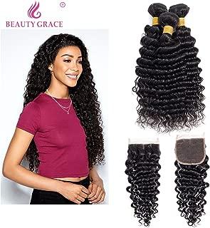 BEAUTY GRACE Deep Wave 3 Bundles With Middle Part Lace Closure (Total 350g) Natural Color Virgin Deep Curly Wave Mink Human Hair Weave(16