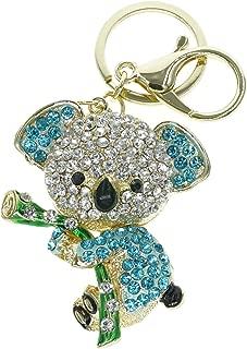 Cooplay Cute Lovely Koala Bear Animal Diamond Crystal Rhinestone Gold Crystal Keychain Charm Pendent Beautiful Accessories the Best Gift for Girl Women Purse Handbag Bag Keyrings (Blue)