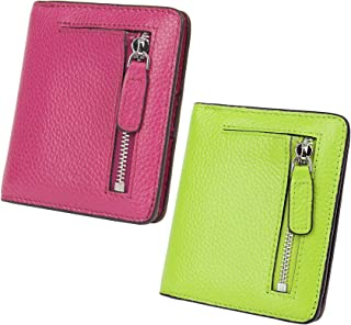 AINIMOER Women Leather Wallet RFID Blocking Small Mini Bifold Zipper Pocket Card Case Purple and Light Green