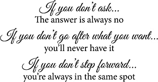 Newclew If You Don't Ask The Answer is Always No, If You Don't Go After What You Want You'll Never Have It. Wall Decal Sticker Art Mural Home Décor Quote Inspiring Inspirational Courage