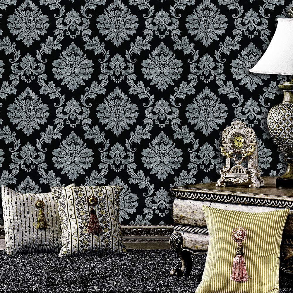 JZ·HOME 5330 Luxury Damask Wallpaper Silver Black Ranking TOP14 Bargain Grey Rolls