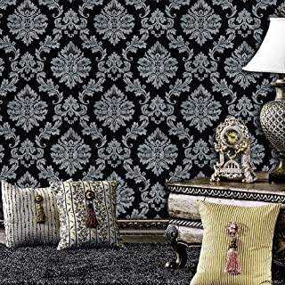 5330 Luxury Damask Wallpaper Rolls, Silver Grey/Black Embossed Texture Victorian Wall Paper Home Bedroom Living Room Hotels Wall Decoration 20.8in×32.8ft