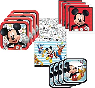 Mickey Mouse Party Supplies Tableware Pack for 16 Guests - Includes 16 Dinner Plates, 16 Dessert Plates, 16 Dinner Napkins, and 1 Tablecover, Bundle