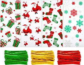200 Pieces Christmas Cellophane Bags Christmas cello Treat Bags Candy Cookies Goodie Gift Bags with 300 Pieces Twist Ties for Theme Party Supplies, 4 Different Styles