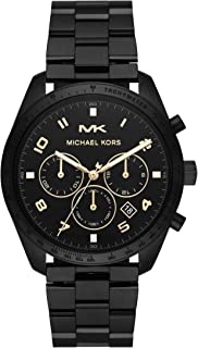 Men's Keaton Quartz Watch with Stainless-Steel-Plated Strap, Black, 22 (Model: MK8684)