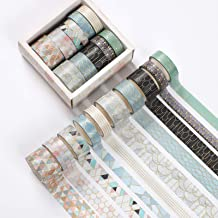 Washi Tape Set of 10 Rolls, Gold Foil Masking Tape Decorative Paper Tape for Arts & Crafts Gift Wrapping, Scrapbooking, DI...