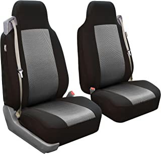 FH Group FB302GRAY102 Gray Classic Cloth Built-in Seatbelt Compatible High Back Seat Cover, Set of 2