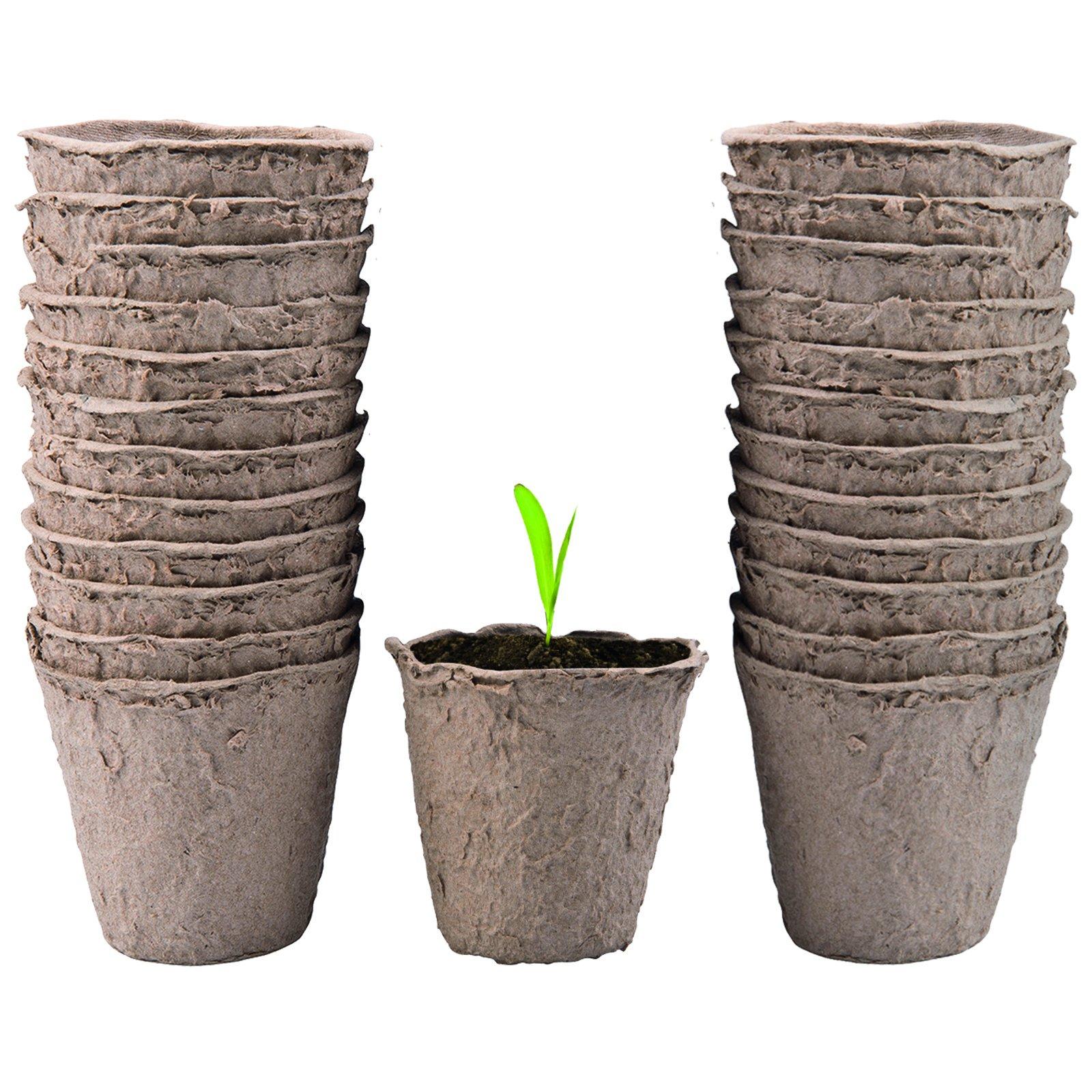 CostMad turba de fibra de 24 x Biodegradable papel macetas 6 cm ...