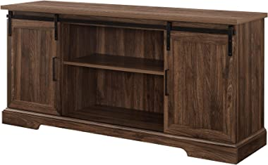 """Walker Edison Furniture Company Modern Farmhouse Sliding Grooved Wood Stand for TV's up to 65"""" Cabinet Door Living Room Storage Entertainment Center, 58 Inch, Dark Walnut"""
