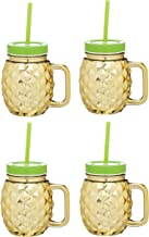 BarCraft Tropical Chic Novelty Glass Drinking Jars with Straws, 500 ml - Pineapple Design (Set of 4)