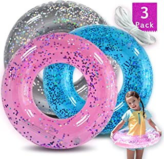 Animism Glitter Pool Tube (3Pack) with Pink Blue Sliver, Inflatable Swim Ring, Pool Toys for Summer Party Decorations