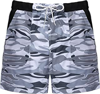 ranrann Mens Drawstring Camouflage Swim Trunks Summer Beach Surf Board Boxer Shorts
