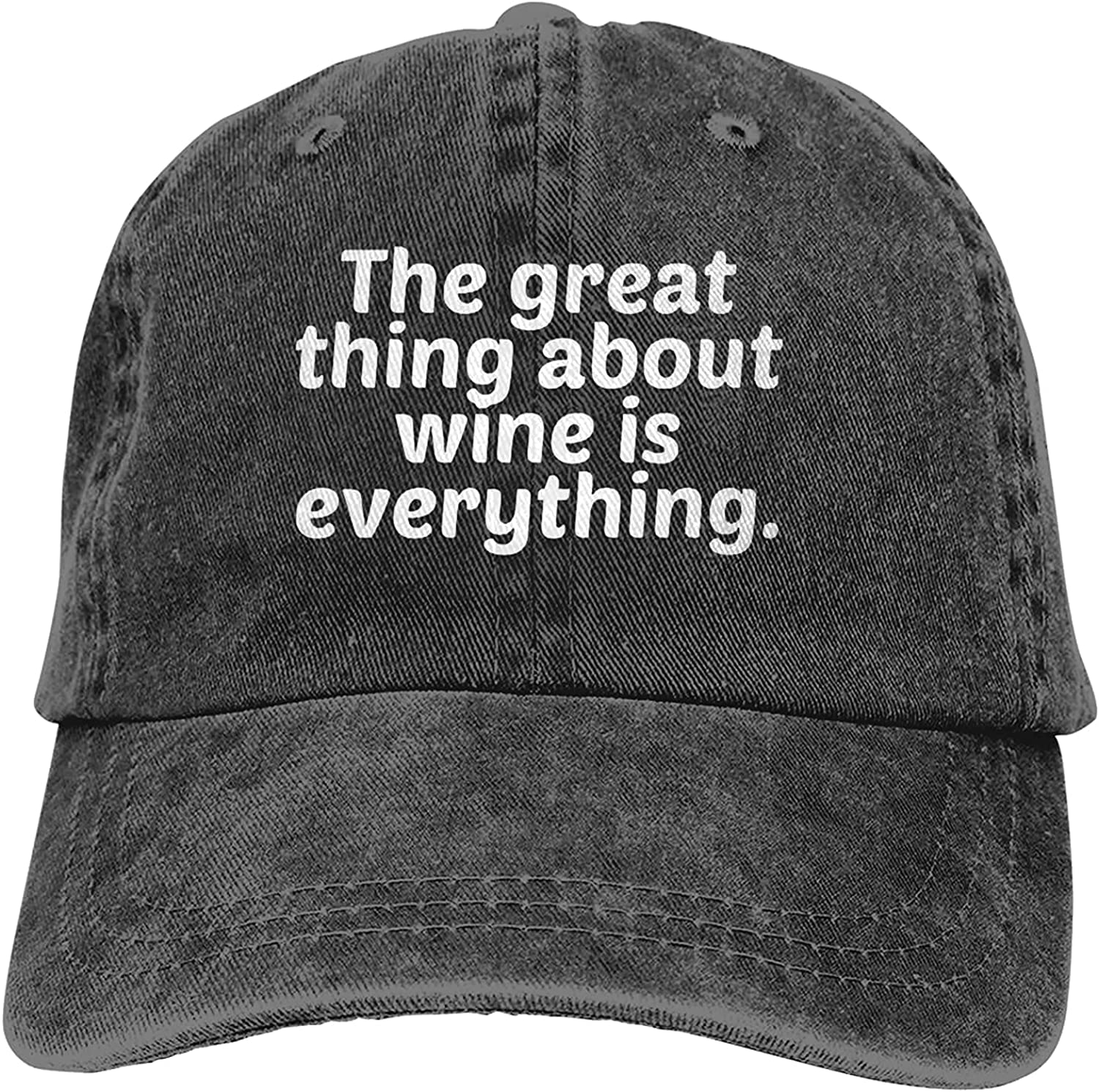 BGWORZD The Great Thing About Wine is Everything Adjustable Washed Dad Hat Cowboy Cap Denim Cap Baseball Cap