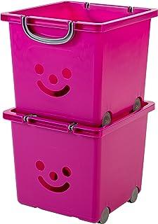 Iris Ohyama 135610 Set de 2 Cubes de Rangement Smiley Kids sur roulettes, Plastique, Violet, 25 Litres