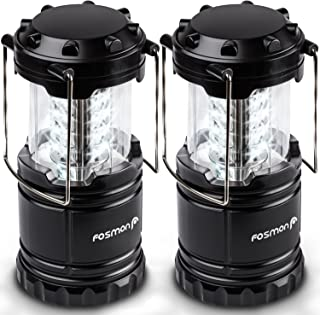 Fosmon LED Lantern, Portable Outdoor LED Collapsible Camping Lantern, Military Graded and Water Resistant with 3X AA Batteries - Black