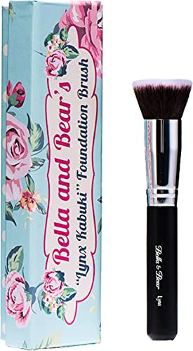 Bella and Bear Foundation Brush - Our Professional Kabuki Flat Stippling Brush Works with Liquid - Mineral and Powder...