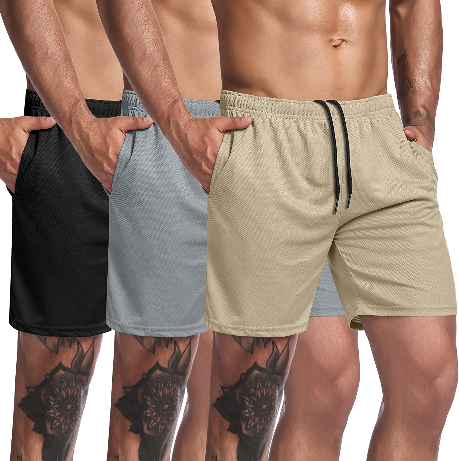 COOFANDY Atlanta Mall Men's 3 Pack Gym Mesh Workout Shorts New mail order Weightlifting Squa