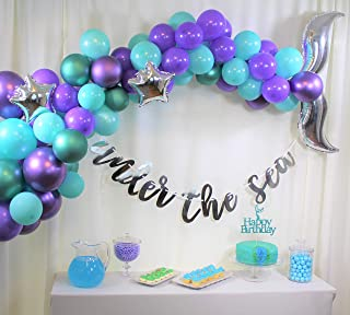 Mermaid Party Supplies set, Mermaid Birthday, Under the Sea Party, Mermaid Tail Balloon Garland Set, Under the Sea Pre-strung Banner,Mermaid Cake Topper, Balloon Arch Tool Kit,Happy Birthday for Girls