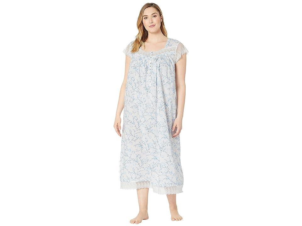 Eileen West Plus Size Cotton Woven Lawn Ballet Cap Sleeve Nightgown (White Ground Floral) Women