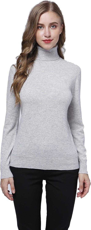 Acmewear Women's 100% Pure Cashmere Long Sleeve Turtle Neck