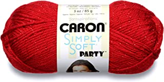 Caron Simply Soft Party Yarn - (4) Medium Worsted Gauge - 3 oz - Rich Red - For Crochet, Knitting & Crafting