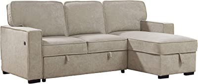Best Master Furniture Julian Upholstered Sleeper Sectional, Beige