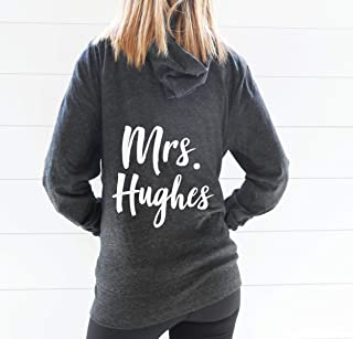 Mrs Last Name Hoodie - Custom Mrs Hoodie - Custom Name Hoodie - Personalized Hoodie - Personalized Jacket - Cute Bride Hoodie - Custom Zipup