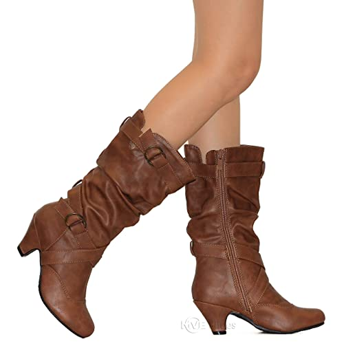 6ee605bfbd79 MVE Shoes Kids Stylish Comfortable Scrunched Rounded Toe Low Heel Boot
