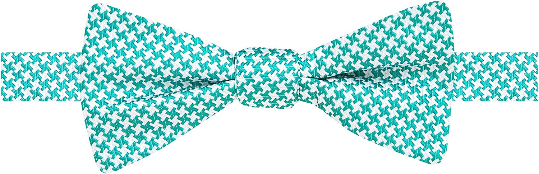 Countess Mara Men's Houndstooth Self-Tie Bow Tie, White/Aqua, OS