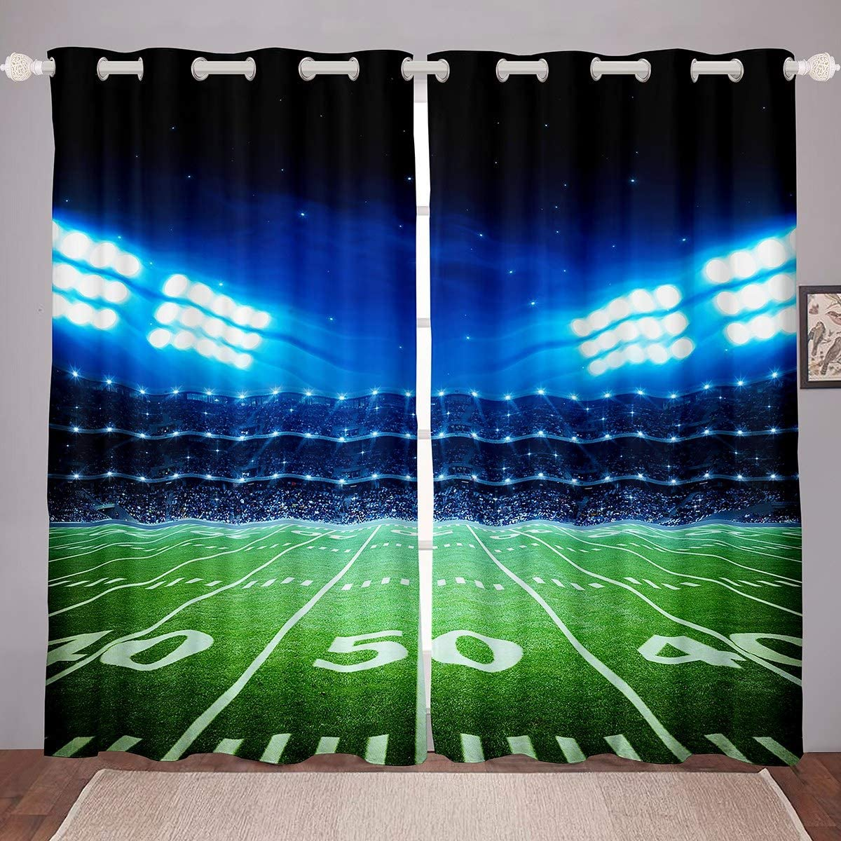 Football Room Darkening Curtain Boys Sports Blackout Curtain for Bedroom for Kids Youth 3D Rugby Field Printed Thermal Curtain Rugby Game Blackout Drapes,42 X 63 Inch,2 Panels