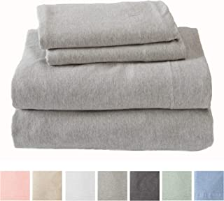 Jersey Knit Sheets. All Season, Soft, Cozy XL Twin Jersey Sheets. T-Shirt Sheets. Jersey Cotton Sheets. Heather Cotton Jersey Bed Sheet Set. (Twin Extra Long, Light Grey)