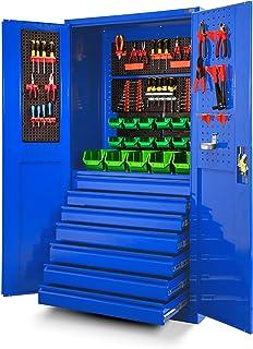 Jan Nowak by Domator24 TC007 - Armario de herramientas (chapa de acero, 185 x 92 x 50 cm), color azul