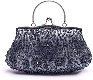 Blue Glitter /& Black Satin Drawstring Dolly Bag Evening Handbag Purse