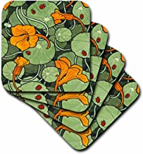 3dRose Art Nouveau Orange Nasturtium Flowers with Ladybirds - Ceramic Tile Coasters, Set of 4 (CST_216475_3)
