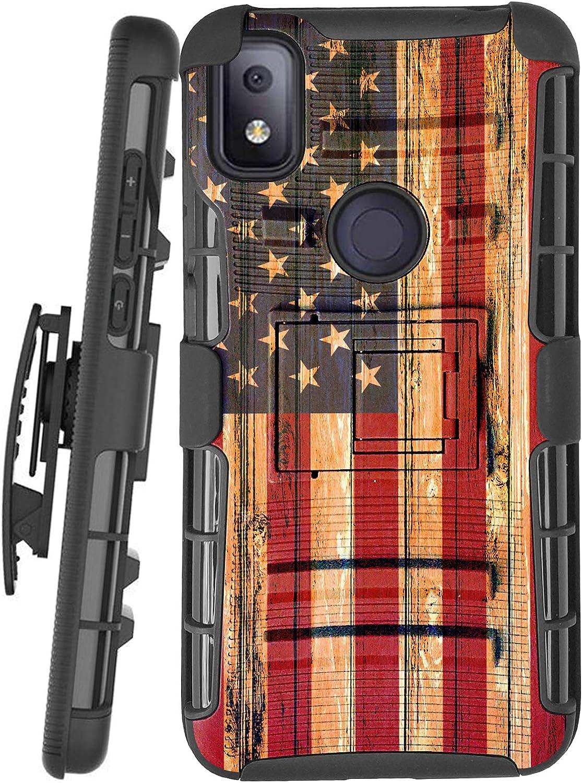 DALUX Hybrid Kickstand Holster Phone Case Compatible with T-Mobile REVVL 4 (2020) - US Flag Fence Print