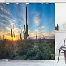 Ambesonne Saguaro Shower Curtain, Sun is Setting Between Cactus Plants with Spines Noon Landscape Wild Design, Cloth Fabric Bathroom Decor Set with Hooks, 84 Long Extra, Green Blue