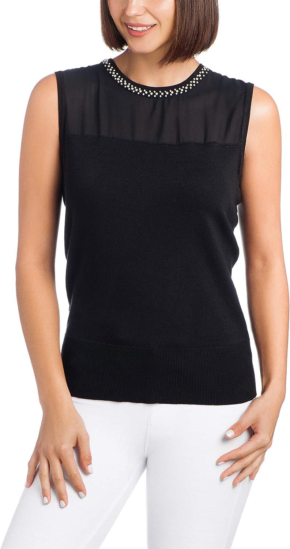 Cable & Gauge Womens Sleeveless Sweater Knit Shell - Chiffon Front Yoke