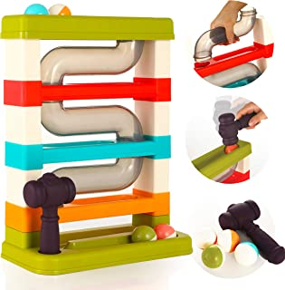 Ball Drop Pounding Toy Tower for Toddlers and Kids with Squeaky Hammer and Ball Rattles, Large Stackable Pound A Ball Play...