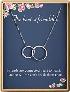 Sisters Gifts Necklace Delicate Knot Of Friendship 925 Sterling Silver Crystal Pendant Necklace Friends Birthday Gifts Christmas Gifts for Women