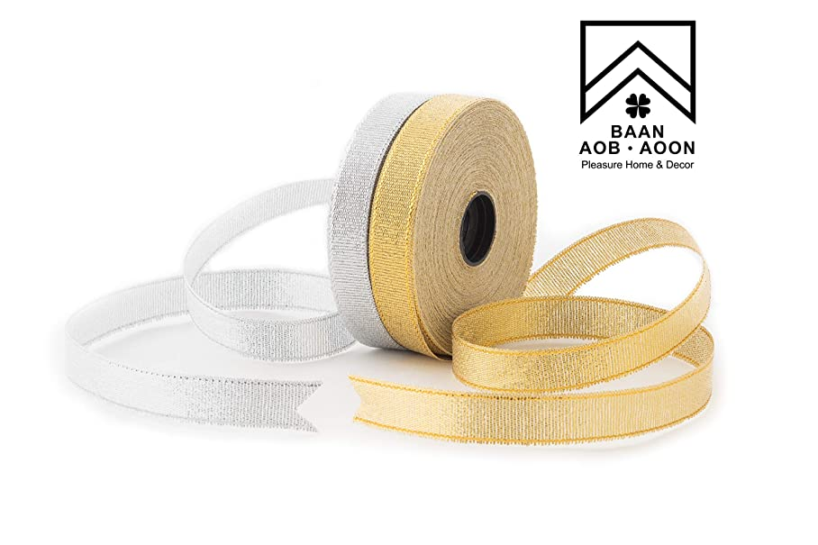 Glitter Trimmings Decorative Ribbons for Gift Wrapping (Gold&Silver) Pack of 2, 25 Yard 15mm Wide [Baan Aob Aoon Brand] n648953346