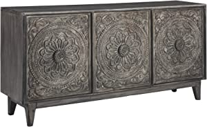Signature Design by Ashley - Fair Ridge 3-Door Accent Cabinet - Contemporary - Hand Carved Solid Wood - Antique Gray Finish