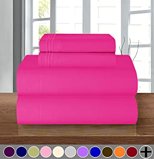 Elegant Comfort Luxury Soft 1500 Thread Count Egyptian Quality 3-Piece Sheet Wrinkle and Fade Resistant Bedding Set, Deep Pocket up to 16inch, Twin/Twin XL, Hot Pink