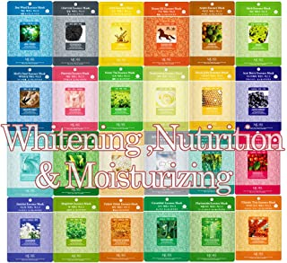 Pack of 24, Korean Beauty Cosmetics Concentrated Collagen Essence Mask Pack Sheet for Whitening, Nutrients, and Moisturizing