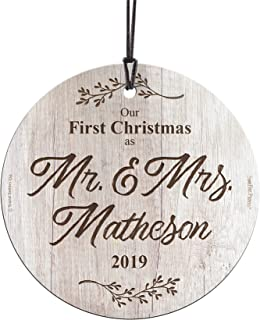 First Christmas Married Glass Ornament – Mr and Mrs Personalized – Rustic Farmhouse Wood Design - Suncatcher Hanging Print Christmas Tree Date Display 3.5